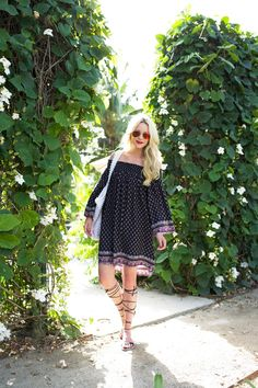 lightweight peasant dress with gladiator sandals