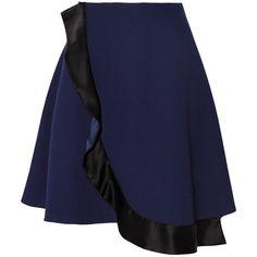 Prabal Gurung Wrap-effect crepe mini skirt featuring polyvore, fashion, clothing, skirts, mini skirts, navy, wrap mini skirt, wrap around skirt, short skirts, mini skirt and short mini skirts