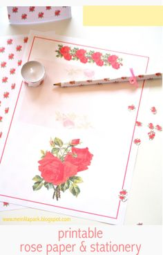 FREE printable vintage rose wrap paper & stationery