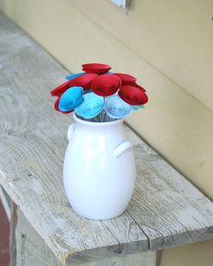 Aqua and Red Paper Flowers - Carnival Wedding Centerpiece - Circus Theme Wedding - Turquoise and Red