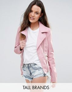 Buy it now. New Look Tall Leather Look Jacket - Pink. Tall jacket by New Look Tall, Faux leather, Notch lapels, Asymmetric zip fastening, Functional pockets, Pin-buckle waist belt, Regular fit - true to size, Machine wash, 100% Polyurethane, Our model wears a UK 8/EU 36/US 4. ABOUT NEW LOOK TALL Offering perfectly proportioned, fast off the catwalk styles, New Look Tall joins the ASOS round up of great British high street brands that go the extra length. Engineered to fit and flatter women…