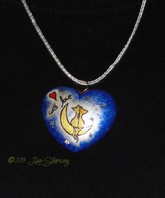 Cat Heart With Love Valentines pendant necklace by LissSilverwing, $18.00