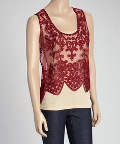 Burgundy Sheer Embroidered Silk-Blend Hi-Low Top by Pretty Angel #zulily #zulilyfinds would be awesome with a shirt underneath