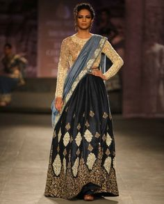 Dark Blue Lengha Set with Embroidered Blouse