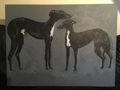 Two greyhounds done in acrylics done by myself