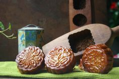 Chinese Mooncakes, with a filling of Lotus Bean Paste & Candied Orange