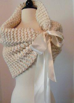Bride Bolero Wedding Shawl/Bridal Cape/Shrug/Bolero/Shawl/Elegant Shawl/Ivory Shawl/Hand Knit. $85.00, via Etsy.