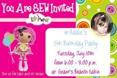 Lalaloopsy Birthday Invitation Style 2 in 4x6  $10  Made by aswiney01@yahoo.com