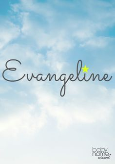 """Evangeline: Meaning, origin, and popularity of the name. Once old-fashioned and nearly unheard of, Evangeline is now contemporary and fresh. It has a natural nickname in Eva, and we also love that it has the word angel in the middle, making opportunities for variations like Angie, Angeline, and Vangie. It means """"good tidings"""" and sits in the 300s. The name was coined in an epic poem of the same name by Henry Wadsworth Longfellow, and recently revived with the help of actress Evangeline…"""