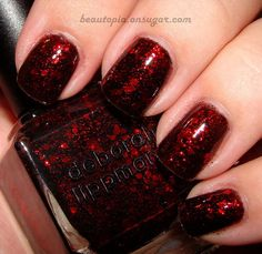 "Deborah Lippman Ruby Red Slippers. Before I knew what this was called, I said, ""It looks like Dorothy's slippers!"""