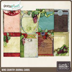 Wine Country Journal Cards :: Gotta Pixel Digital Scrapbook Store by Aimee Harrison $1.99