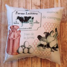 Your place to buy and sell all things handmade Chicken And Cow, Chicken Wire, Country Farmhouse Decor, Country Kitchen, French Phrases, Animal Pillows, Shabby Cottage, Cat Lover Gifts, Decoration