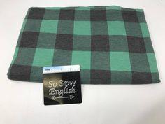 Green/black FT PLAID -Poly Rayon Spandex French Terry - By the yard - So Sew English Fabrics Yard Care, French Terry, Knitted Fabric, Fabrics, Plaid, Spandex, Sewing, Knitting, Grey