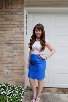 J Crew pencil skirt paired with watercolor wedges