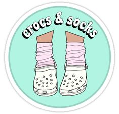 """""""White Crocs and Socks"""" Stickers by abbyconnellyy Tumblr Stickers, Cute Stickers, Aesthetic Stickers, Transparent Stickers, Glossier Stickers, Sticker Design, Cute Wallpapers, Iphone Wallpaper, Hydro Flask"""