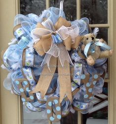 Baby Boy Wreath, Nursery Wreath, Burlap, Shower Gift, Baby Wreath, Boy, Hand Painted Letters, Blue on Etsy, $80.00