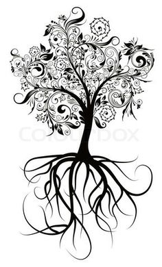 flowering tree sketch | Stock image of 'Decorative tree & roots , vector illustration'
