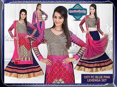 Bollywood Inspired Priyanka Chopra Blue Pink Lehenga Set