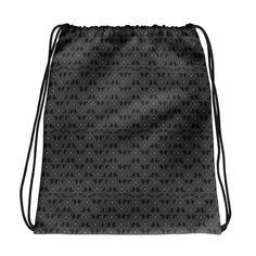 Black Vintage Lace Print Drawstring bag