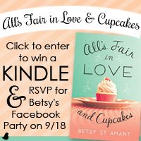 "Betsy St Amant is celebrating her latest release with a Kindle giveaway and ""Love and Cupcakes"" Author Chat Facebook Party on September 18. Click here to learn more and enter."