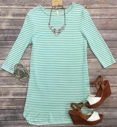 Striped 3/4 Tunic Dress