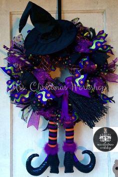 Halloween Witch Mesh Wreath