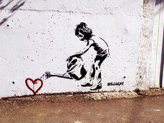 Banksy art :] More art art graffiti art quotes Banksy Graffiti, Street Art Banksy, Arte Banksy, Love Graffiti, Street Art Utopia, Graffiti Drawing, Bansky, Graffiti Quotes, Banksy Artwork