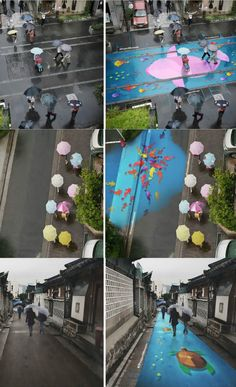 Korea 대한민국 Busan 부산시 Gamcheon Culture Village 감천 - Beautiful street murals appear on roads only when it rains