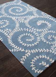 Love this pattern! Soft Sea Tendrils - Ocean Blue and Ivory Area Rug (new pricing too!)