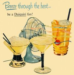 Be a Daiquiri Fan! Detail from 1950 Puerto Rico Rums ad. Retro Advertising, Vintage Advertisements, Vintage Ads, Vintage Prints, Vintage Posters, Vintage Food, 1950s Posters, Retro Food, Retro Ads