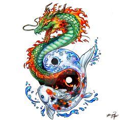 Dragon Koi tattoo commission by yuumei.deviantart.com on @DeviantArt