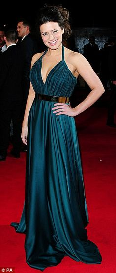 Stunning: Hollyoaks star Sophie Austin arrives at the annual event in a sweeping emerald green affair