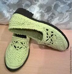 Купить Весна - ярко-зелёный, салатовый лен, ажурные туфли, вязаная обувь