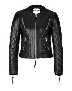 An ultra-luxe take on the classic biker jacket, Moschino's cropped silhouette features allover ladylike quilting and gilded zip hardware #Stylebop