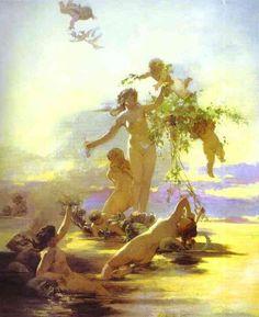 """Henryk Siemiradzki, """"Nimfy wodne"""" , olej na płótnie, c. 1880, Muzeum Sztuki, Rjazań"""