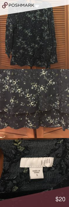 J. Jill navy floral top Small Navy floral top from J Jill. His long sleeves. Size small. Has 2 layers for a layered look. 100% rayon. J. Jill Tops Blouses