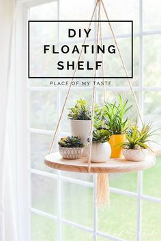 Recreate this simple floating shelf by attaching a round wooden plate and yarn together.