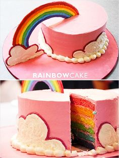 Rainbow cake made with royal icing --This would be cute if the cake were made into a pot of gold with chocolate gold coins on top for St. Patrick's Day