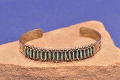 "B1 - Bracelets - Cuff - Bezel Set Stones-'Needlepoint bracelet Zuni ""E. Acque""'-Len Wood's Indian Territory"