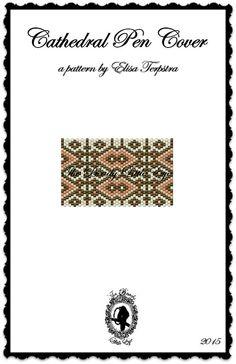 Peyote Pattern Peyote Stitch Beaded Pen Wrap Cover Tutorial Beading Pattern Geometric Print Diamond Pattern Cathedral Pen Cover Pattern