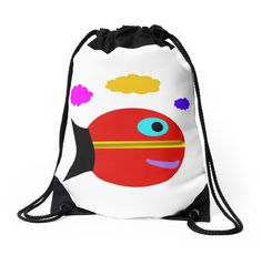 """'""""Fish Out of Water""""' Drawstring Bag by BillOwenArt Backpack Bags, Drawstring Backpack, Pearl Rose, School Supplies, Woven Fabric, Backpacks, Group"""