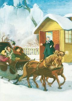 Martta Wendelin Joulu Winter Walk, Winter Snow, Dashing Through The Snow, Good Old Times, Vintage Christmas Cards, Christmas Pictures, Christmas And New Year, All Art, Martini