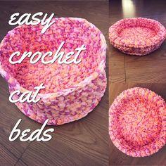One of my own designs at www.joyfulgirl.com FREE PATTERN, crochet kitty cat bed. Crochet Cat Toys, Crochet For Kids, Crochet Crafts, Easy Crochet, Free Crochet, Irish Crochet, Crochet Projects, Diy Crafts, Yarn Projects