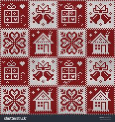 Knitted Christmas seamless pattern