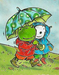 Nellie og Cezar går under paraply i regnvejr Art Et Illustration, Illustrations, Weather Seasons, Umbrellas Parasols, Preschool Themes, Autumn Activities, Autumn Theme, Beautiful Artwork, Rainy Days