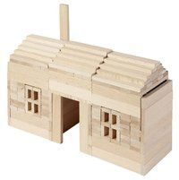 200 blocks made of natural beech wood ensure construction fun. It comes with more than 100 building proposals - good for allergic children. Building Block Games, Wooden Building Blocks, Wooden Blocks, Building Ideas, Legos, Construction Games, Jenga Blocks, Wooden Buildings, Natural Building