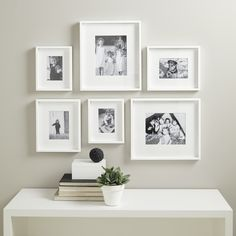 We have made a simple and easy solution to creating a stunning picture gallery wall. This set contains six white-painted wooden photo frames in varying sizes, which each have removable mounts to give your photographs a smart and modern look. Gallery Wall Frames, Decor, Picture Gallery Wall, Living Room Diy, Small Gallery Wall, Home Decor, Wall Frame Set, Wall Design, Gallery Wall Design