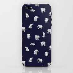 Indian Baby Elephants in Navy iPhone & iPod Skin by Estelle F - $15.00