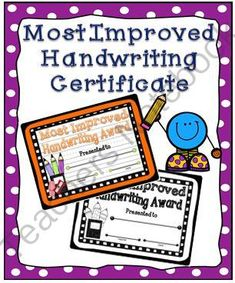 Most Improved Handwriting Certificate from A Teacher in Paradise on TeachersNotebook.com -  (2 pages)  - Reward your students� handwriting skills with this handwriting award.  Enclosed you will find 1 full page certificate in both color and black and white.