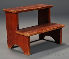 Shaker Red-Stained Pine Two-Step Step-stool, Mt. Lebanon, New York, c. 1930s, 9 H. x 11.25 W. x 8.25 D.